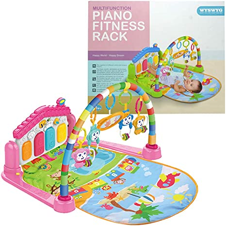 Pink Lights Kick and Play Piano Gym Activity Center with Music and Sounds Toys for Infants and Toddlers Aged 0 to 6 12Months Old Baby Gym Jungle Musical Play Mats for Floor