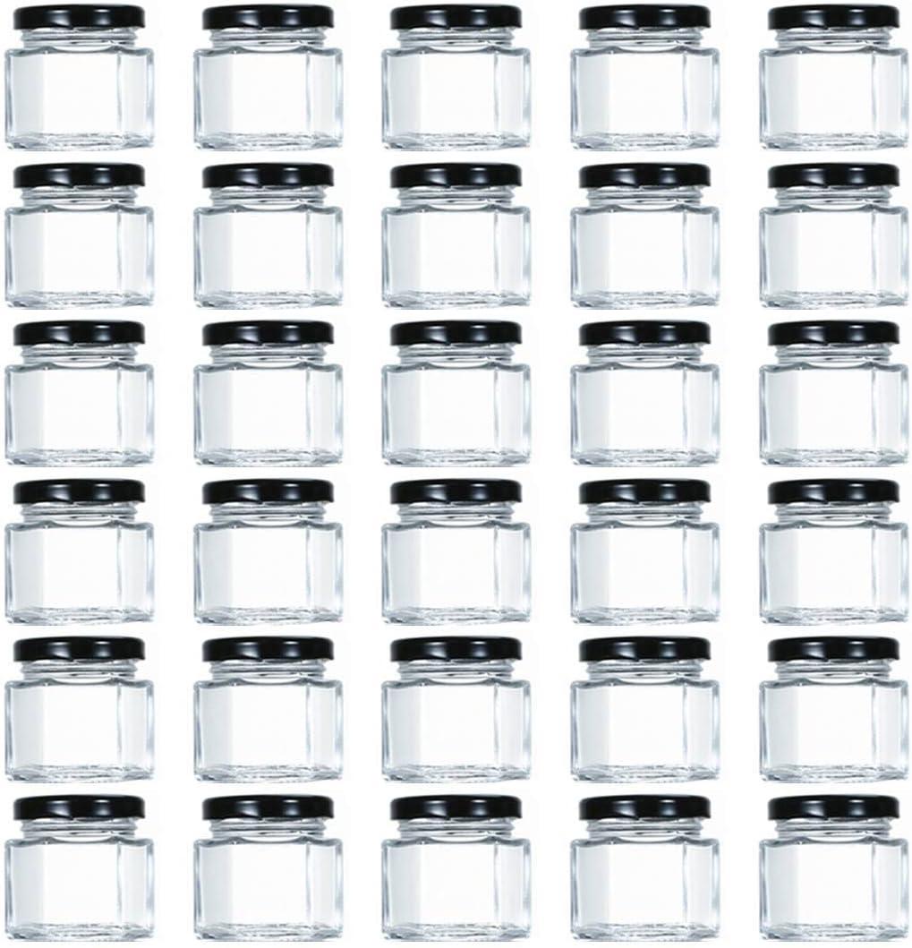 Tebery - Tarros de cristal hexagonales con tapas y etiquetas forradas de plastisol negro (1.5 onzas, 30 unidades)