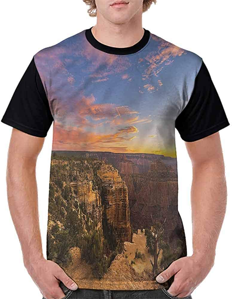 Casual Short Sleeve Graphic Tee Shirts,Nature Pastoral with Sunrise Fashion Personality Customization