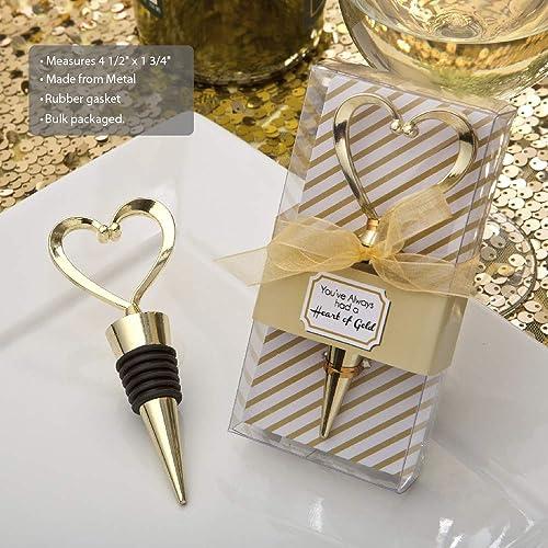 FASHIONCRAFT 1966 Heart Wine Bottle Stopper, Decorative Beverage Cork Topper Saver, Metal with Rubber Plug, Gold Love Design Heart Shape – for Wedding Favors, Bridal Shower, Party Gifts 96 Pack