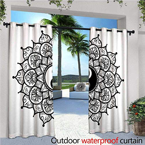 Paisley Block Light - cobeDecor Ying Yang Exterior/Outside Curtains Retro Floral Yin Yang Design with Mandala Patterns Paisley Leaves Petals Boho for Patio Light Block Heat Out Water Proof Drape W120 x L108 Black White