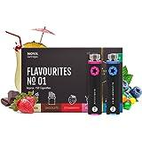 KNUQO NOVA Flavour Refill 5 Pack - Flavourites Flavour | Rechargeable E-cigarette Starter Kit Pen | e Hookah | Nicotine Free | e Shisha | eShisha Club | Pharmaceutical Blister Packaging