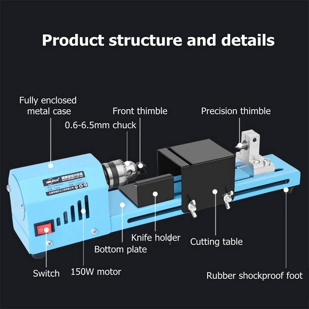 S28esong Wood Lathe 150W Professional Multifunction DIY Woodworking Machine Aluminum Alloy Home Durable Tool Mini Portable Polishing Bead Cutting Drill