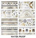 8 Sheet Metallic Temporary Tattoo, AOBETAK Gold and Silver Waterproof Fake Jewellery Tattoos, Realistic Tribal Sticker for Women Men Kids Adults Teens Boys Girls