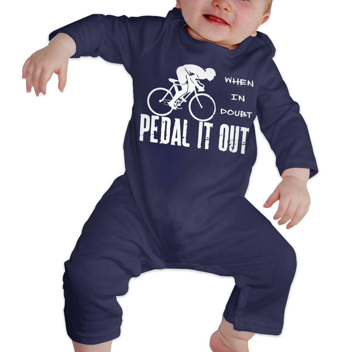When in Doubt Pedal It Out Unisex Baby Long Sleeve Romper Pajama Clothes
