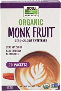 Now Foods Real Food, Organic Monk Fruit Zero-Calorie Sweetener, 70 Packets, 2.47 oz (70 g)