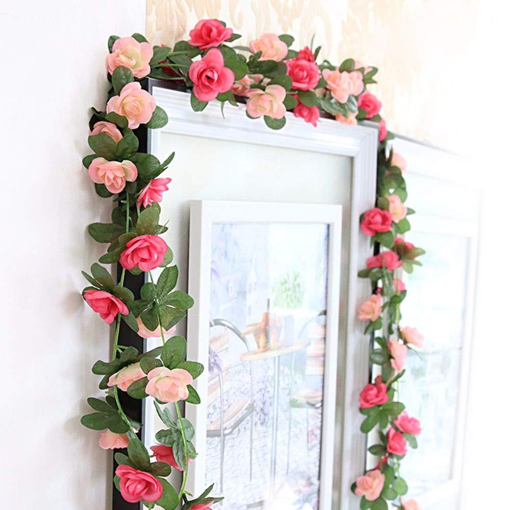 Tong Yue 2パック 2.5m/98インチ 造花 バラ アイビー つる ガーランド 花 植物 家庭 ホテル オフィス 結婚式 パーティー ガーデン クラフト アート装飾 ピンク B07H8GCMXH