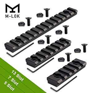 Semedea M-Lok Picatinny Rail, 5-Slot 7-Slot 13-Slot Aluminum Picatinny Rails Section for MLOK Compatible Systems with 6 T-Nuts & 6 Screws & 3 Allen Wrench (Black1, Solid Design)