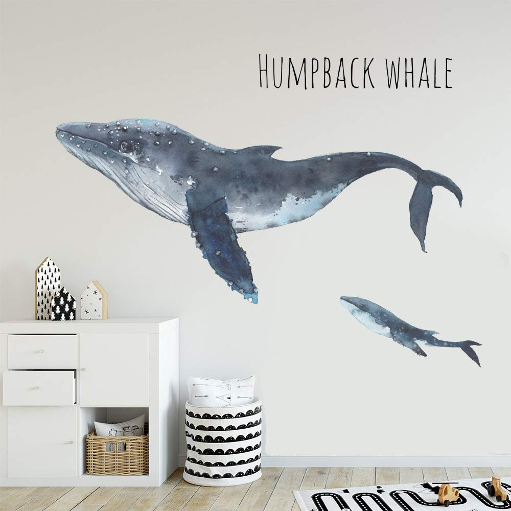 Humpback Whale Wall Decor, iinuu Deep Ocean Fish Wall Decals for Living Room Classroom Bedroom Nursery Office Removable Vinyl Wall Art Stickers Wall Decorations