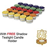 Jhingalala Wax Tealight Candles with Free 1 Piece Metal Shadow Divine Lord Ganesha Tealight Candle Holder (Multicolour, 50)