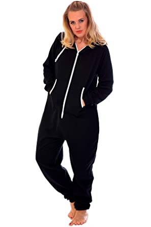 813fc8a43a20 Nouvelle Collection Womens Plus Size All in One Onsie Ladies Thick Warm  Fleece Jumpsuit Hooded Zip