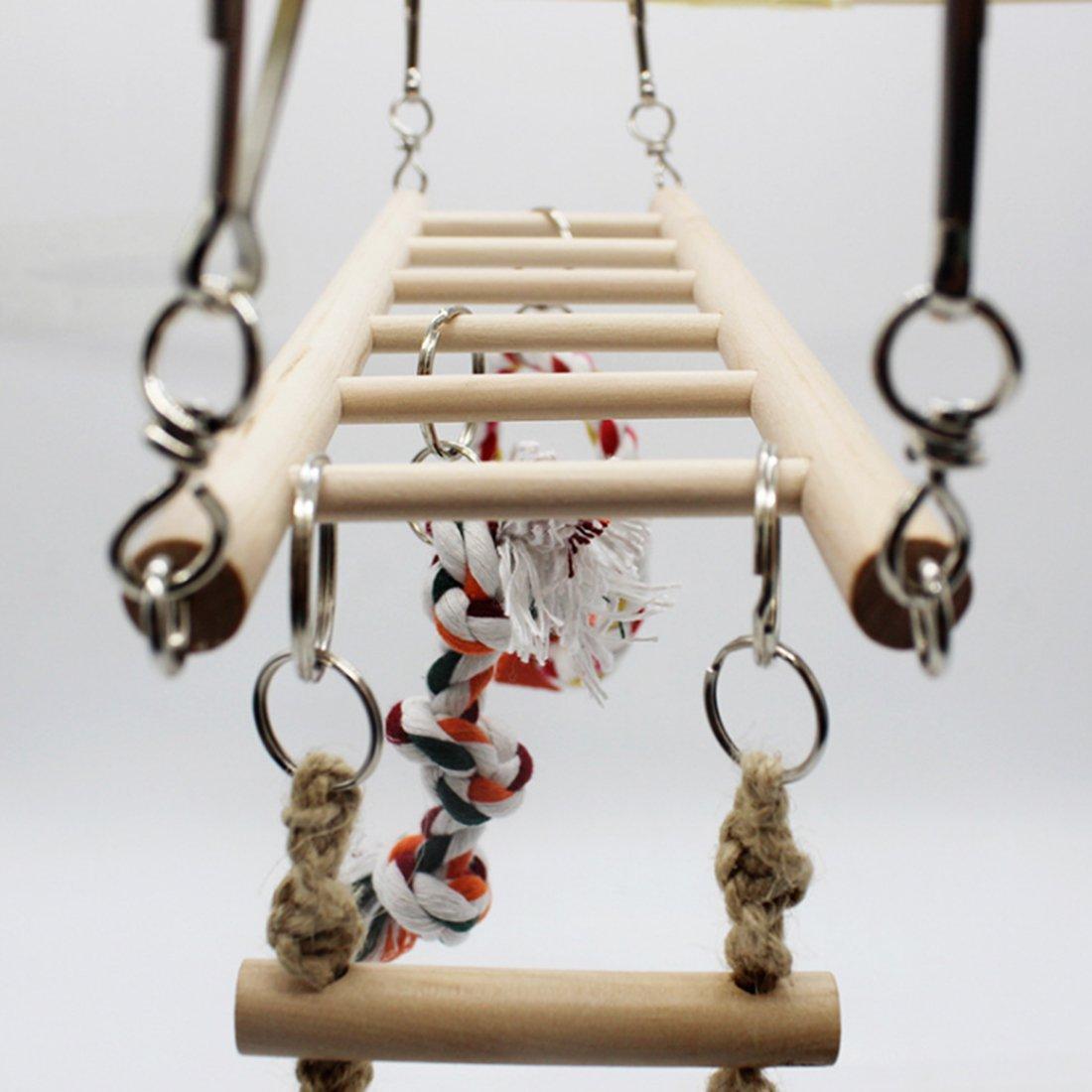 JOYBI Bird Solid Wood Climbing Ladder Swing Chew Toy Parrot Birdcage Perch
