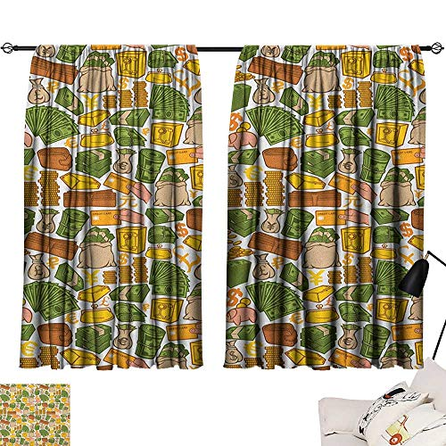 Warm Family Money Thermal Curtains Colorful Symbols of Richness Wallet Credit Card Icons of Money Dollar Pound Signs Privacy Protection 55