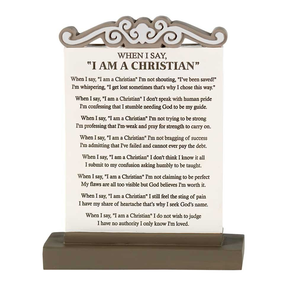Dicksons When I Say 'I Am A Christian' Ivory and Mocha 5 x 7 Resin Stone Tabletop Plaque Decoration