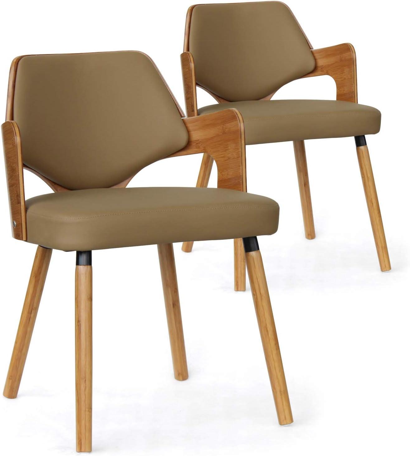 Menzzo – Juego de 2 sillas escandinava Dima, Madera, Madera Natural y Topo, 51 x 51 x 72 cm: Amazon.es: Hogar