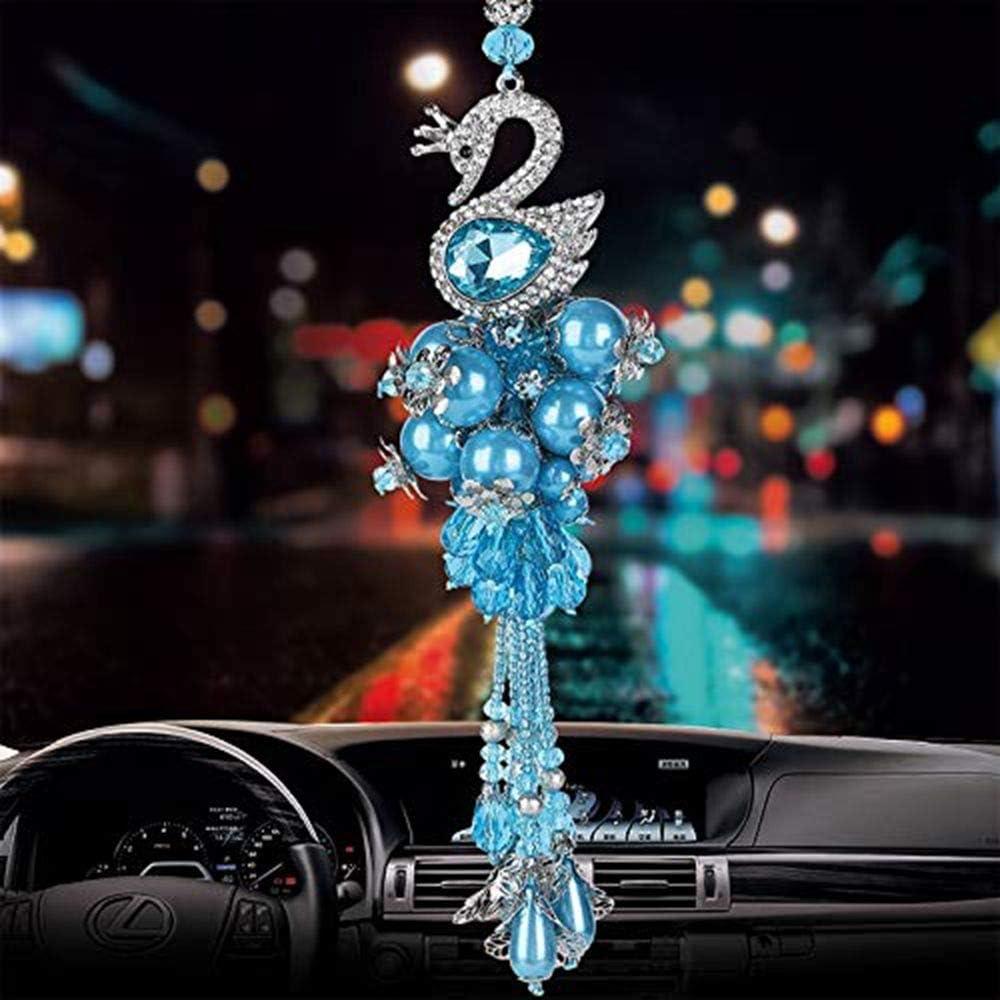 BabYoung Handmade Crystal Bead Decorative Glass Swan Car Pendant Hanging Ornament Car Interior Accessories Mirror Decoration (Blue)
