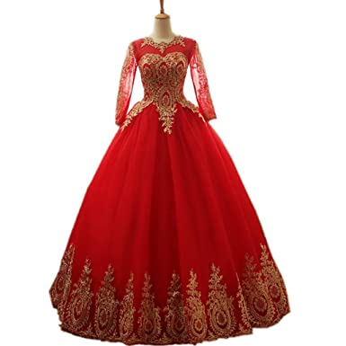 Darcy74dulles Women S Gold Lace Appplique Quinceanera Dresses Red