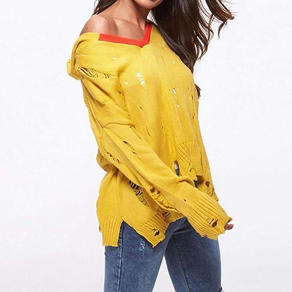 Blusas para Mujer Manga Larga, Naturazy Jersey Camisa Outwear De Empalme Sudaderas Hollow out Chaleco Blouse Elegantes Blusas Sueltas Pullover Sweatshirts ...