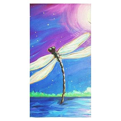 Elegante y personalizada suave y cómodo pintura libélula toalla de baño (16 x 28)