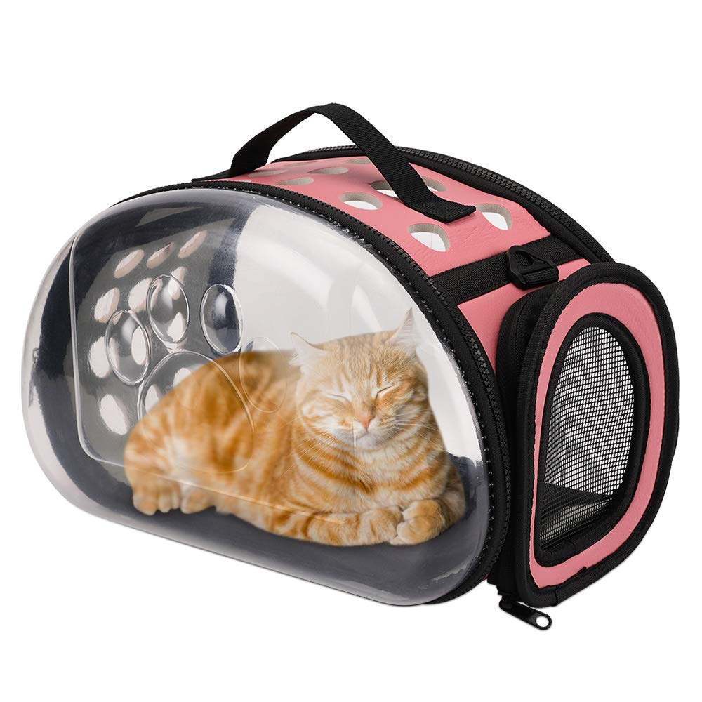HALOViE Soft Sided Cat Carriers, Airline Approved Transparent Pet Carrier Breathable Portable Outdoor Travel Bags Collapsible Clear Tote for Small Medium Animals Dogs Rabbits Less Than 13lb