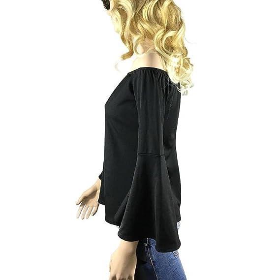 Tongshi Las mujeres de la moda del hombro informal de manga larga de la camiseta remata la blusa (EU 40 (Asia XL), negro): Amazon.es: Ropa y accesorios