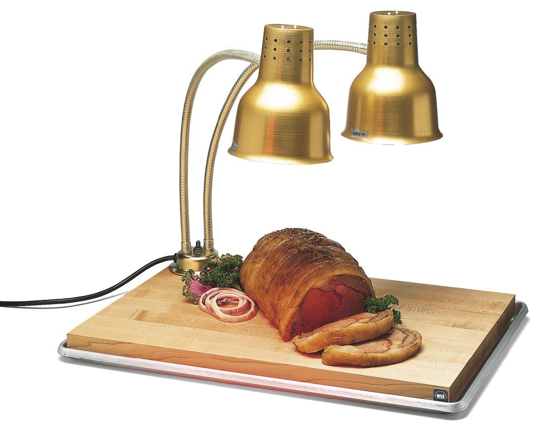 Carlisle HL8285GB21 FlexiGlow Aluminum Dual Arm Shade Heat Lamp with Board and Pan, 24'' x 26'' x 18'', Gold