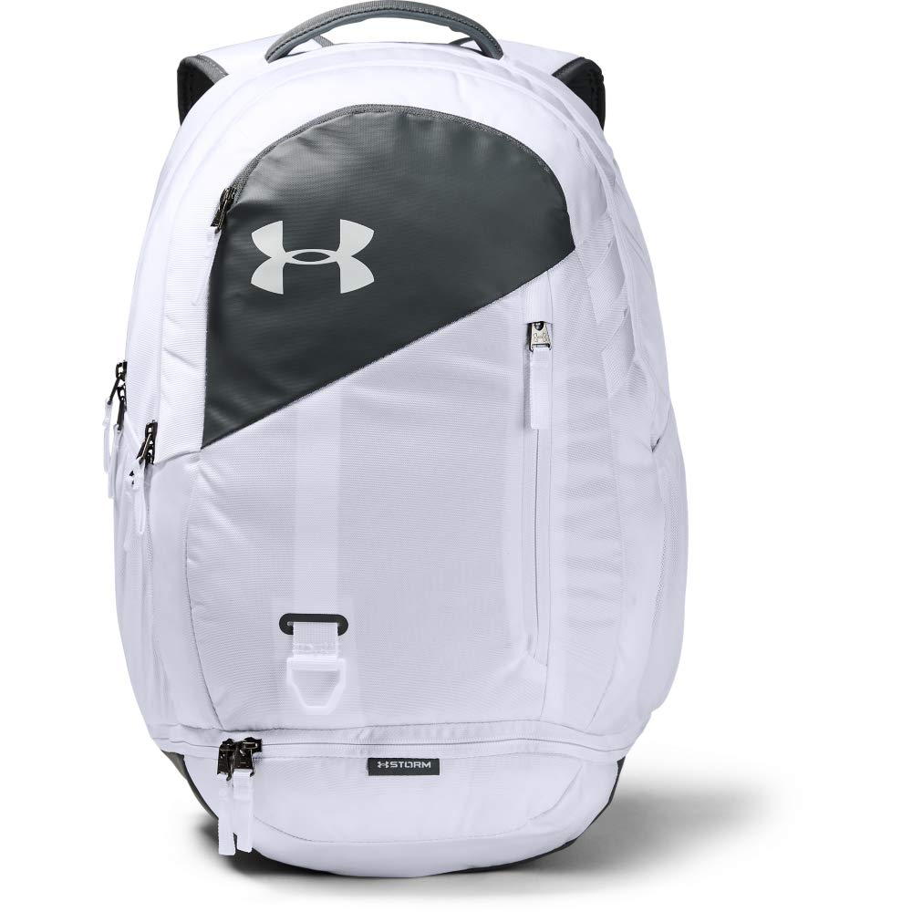Under Armour Hustle 4.0 Backpack, White (100)/Pitch Gray, One Size Fits All by Under Armour