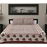 Traditional Mafia rses7034 Floral Vine Collection 100% Pure Cotton Printed Double Bedsheet With 2 Pillow Covers, King, Maroon/Red