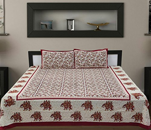 Traditional Mafia rses7034 Floral Vine Collection 100% Pure Cotton Printed Double Bedsheet With 2 Pillow Covers, King, Maroon/Red (King Traditional Bed)