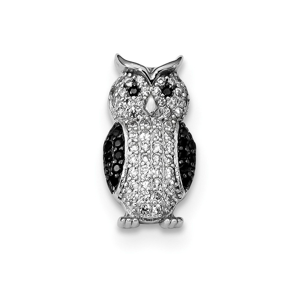 Sterling Silver Themed Jewelry Pendants /& Charms Solid 9.5 mm 17 mm Black CZ Owl Slide Pendant