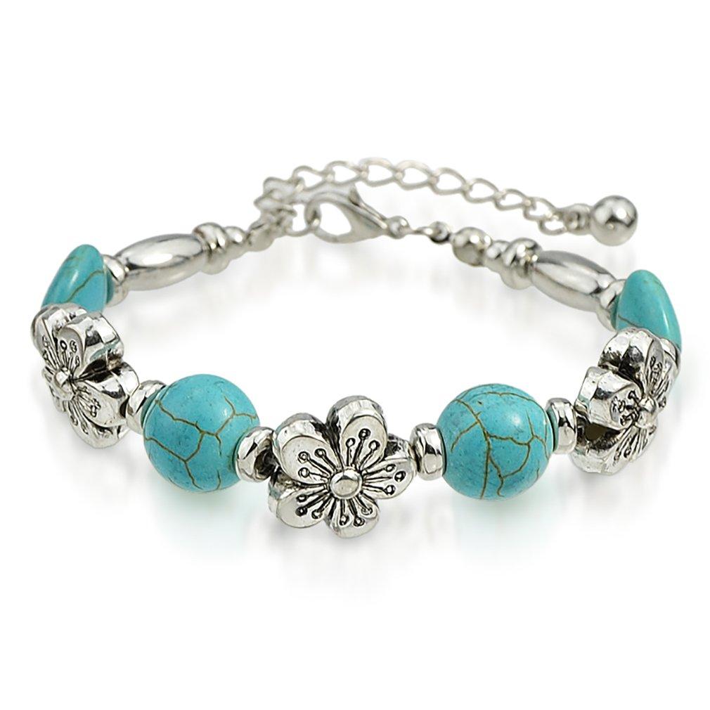 Katie's Style Antique Silvertone Vintage Floral Resin Fashion Statement Bead Bracelet