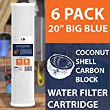 6-PACK Of 5 Micron Big Blue Coconut Shell Carbon Block Water Filter 20''x4.5'' by Aquaboon