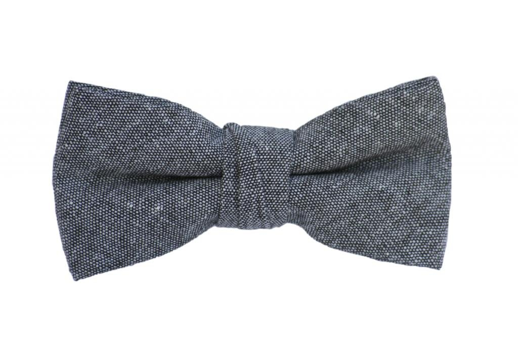 Born to Love - Boys Kids Pre Tied Adjustable Bowtie Easter Holiday Party Dress Up 4 Inches Gray Chambray Linen Bow Tie
