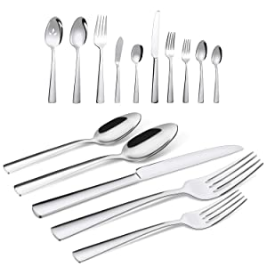 Brightown 65-Piece Silverware Flatware Cutlery Set in Ergonomic Design Size and Weight, Durable Stainless Steel Tableware Service for 12, Dishwasher Safe