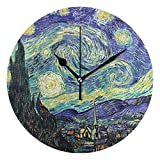 WellLee Van Gogh's Starry Night Clock Acrylic Painted Silent Non-Ticking Round Wall Clocks Home Art Bedroom Living Dorm Room Decor