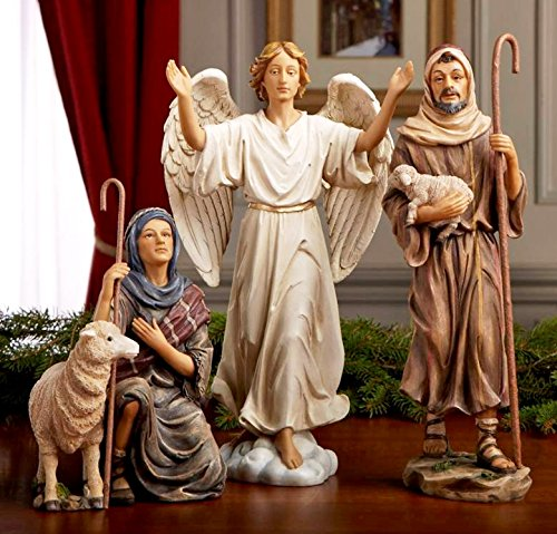 - Three Kings Gifts Shepherds and Angel Figurines for 14-Inch Christmas Nativity Set