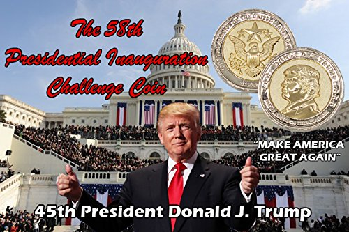 Trump Coin, 58th Presidential Inauguration of Donald J. Trump Challenge Coin by AIIZ Collectibles, 1.75'' Diameter in Shinny 24K Gold & 925 Silver Plating, packaged in Black Velvet Case by AIIZ Collectibles (Image #9)