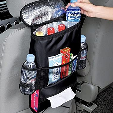 MOACC Insulated Car Seat Back Drinks Holder Cooler/Car Back Seat Organizer/Auto Seat /Multi-Pocket Travel Storage Bag/Storage Bag Cool Wrap Bottle Bag/Mesh Pockets