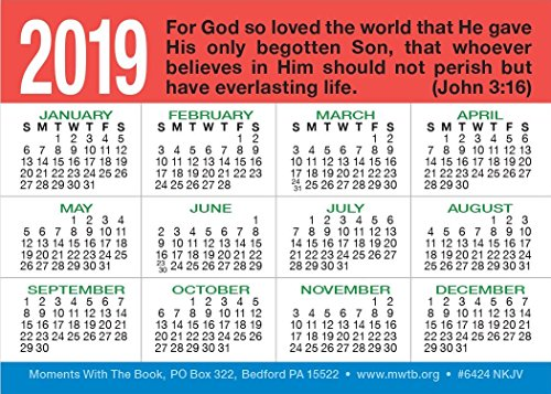 God's ABC's Calendar Card (Packet of 20, NKJV)