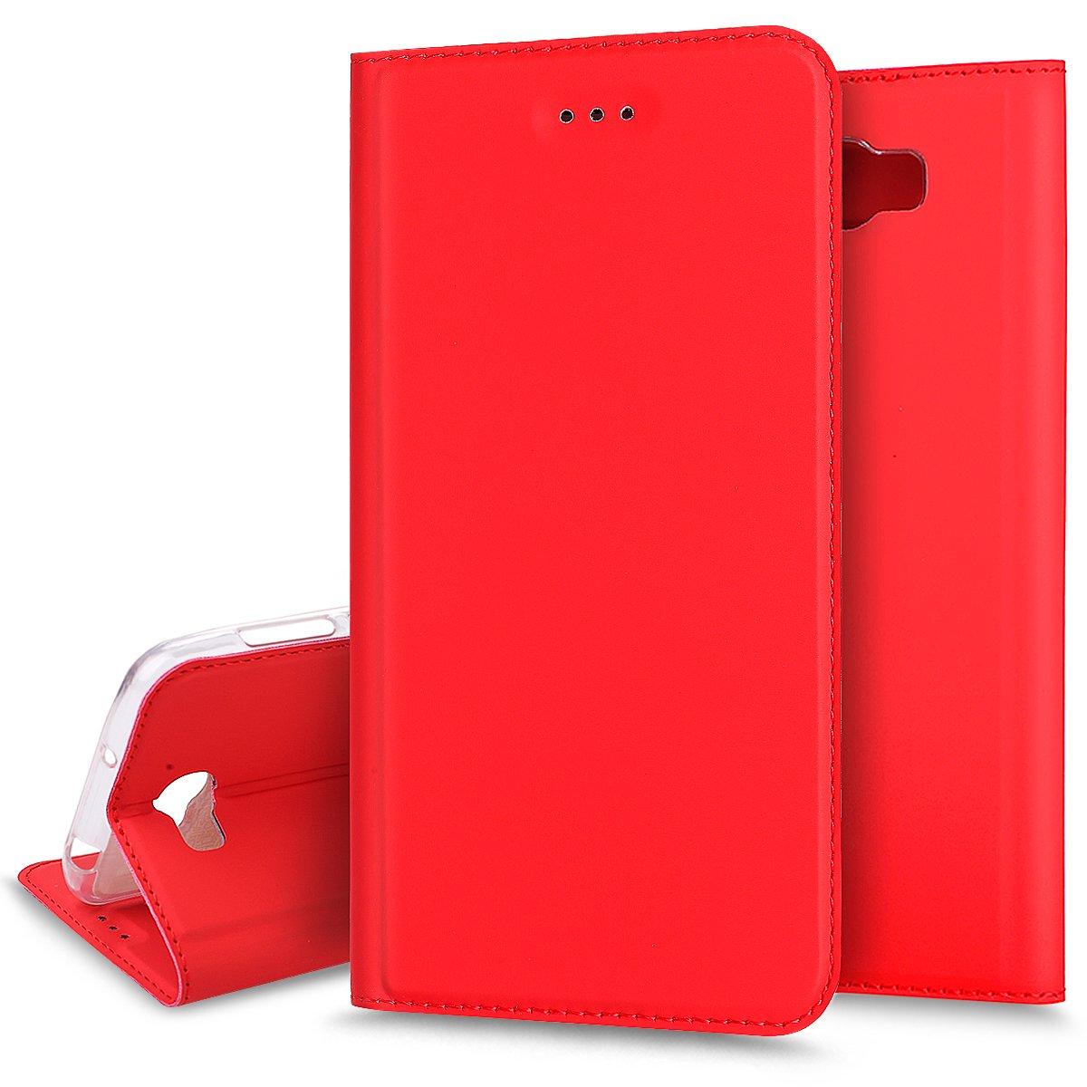 Huawei Y5 II caso, Huawei Y6 II compacto –  Funda Ukayfe Huawei Y5 II/Y6 II compacto funda de piel azul marino de Color só lido –  Y6 II Compact tipo cartera funda con tapa, [funci&oa