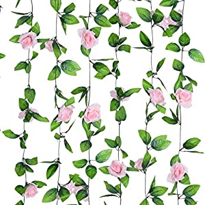 Flower Ivy Garland Artificial Silk Rose Garland,4 Strands Each Strand 7.9FT Fake Flower Ivy Leaf Vine Plants Home Hanging Party Garden Wedding Decor,Pink 4