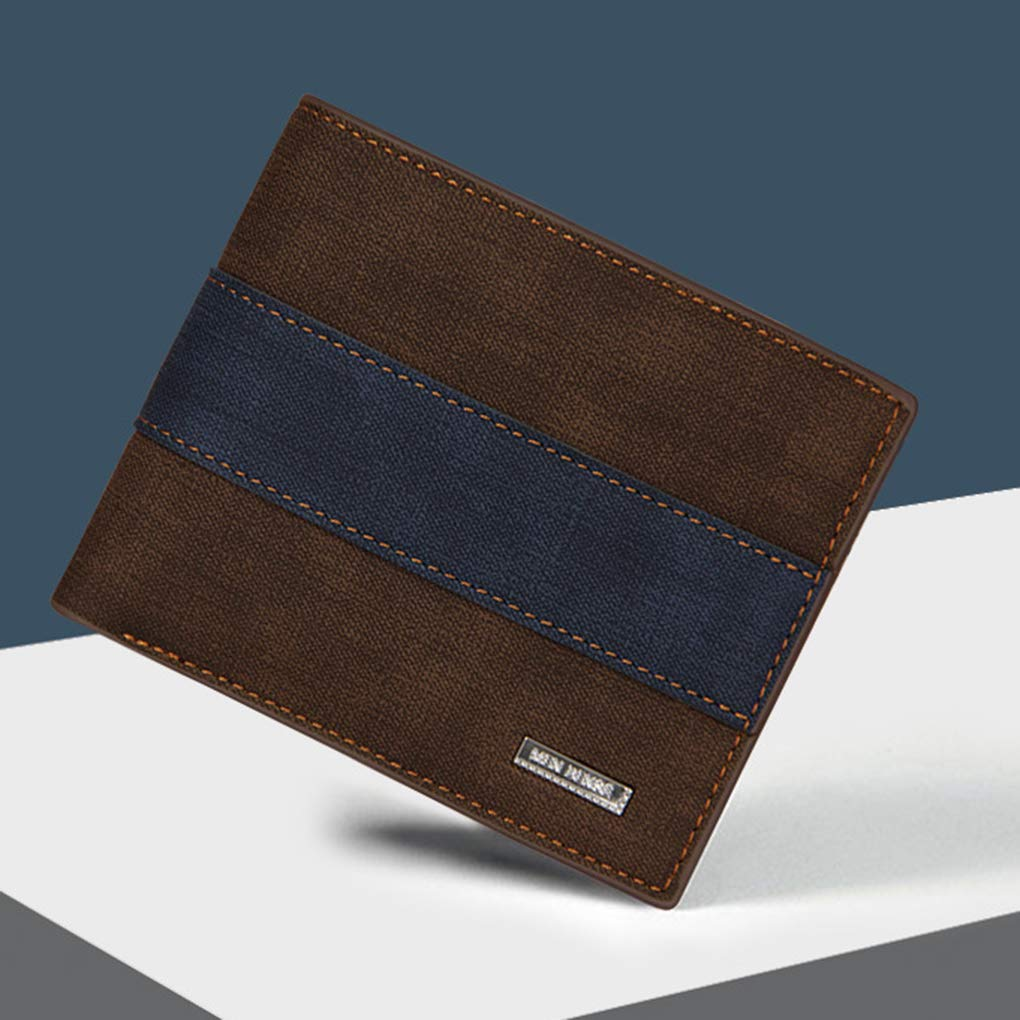 Arichtops Men Boys PU Short Small Bifold Wallet Cards Coins Change Slim Pocket Frosted Retro Thin Purse