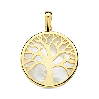Tree of Life 18-karat mother-of-pearl 20mm necklace with spring ring clasp. FY3wh0Qp