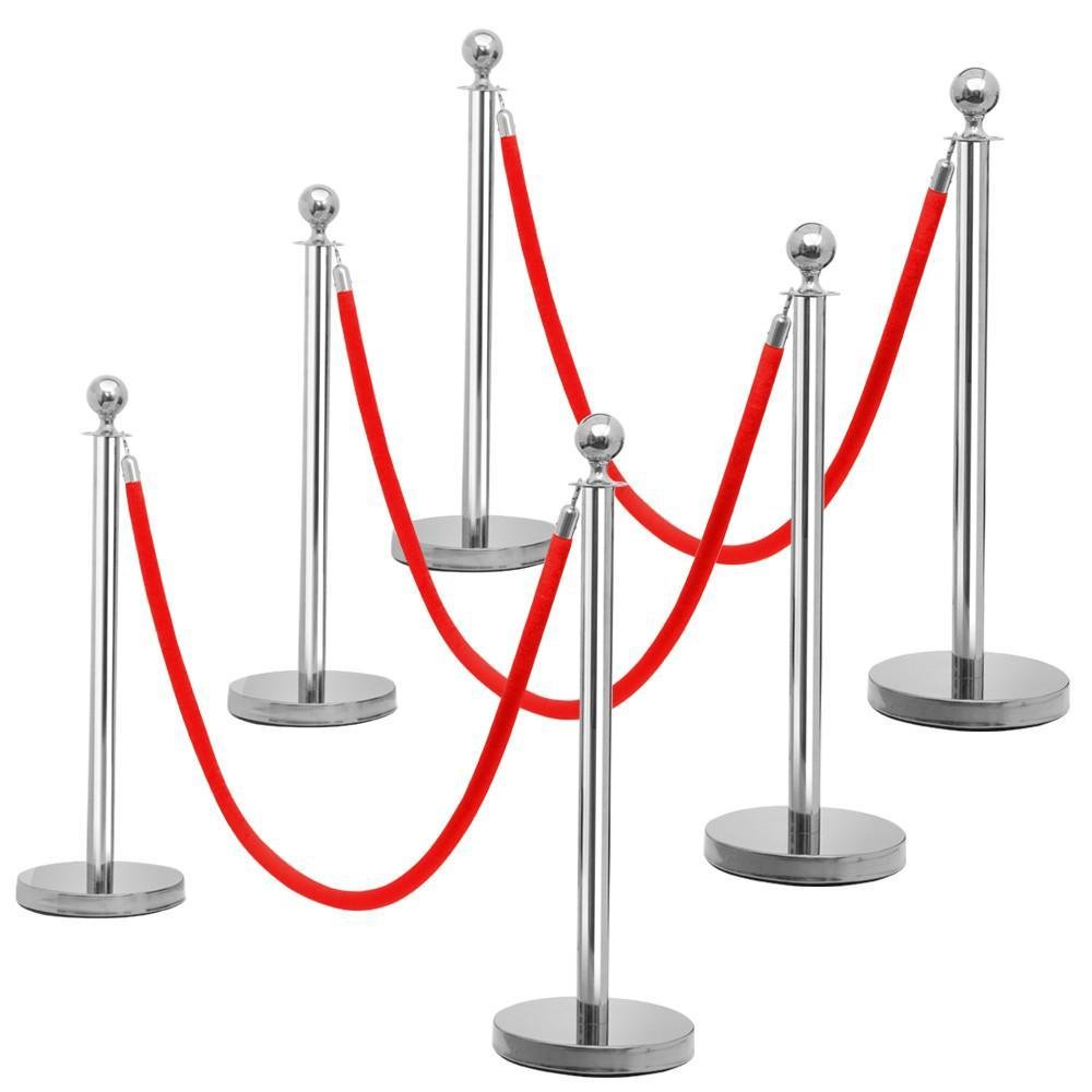 go2buy 6pcs Silver Round Top Stainless Steel Stanchion Posts Queue Barrier w/6.5ft Red Rope