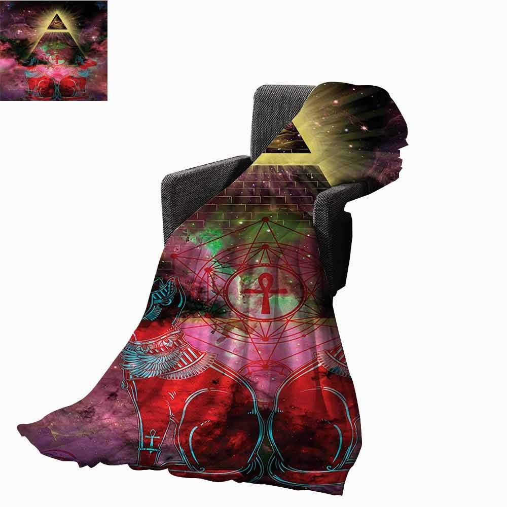 vanfan-home Astronomy Weighted Blanket Adult,Sacred Ancient Egyptian Pyramids with Occult Sacred Eye and Bastet Artwork Soft Fuzzy Cozy Lightweight Blankets (70''x60'')-Plum and Red