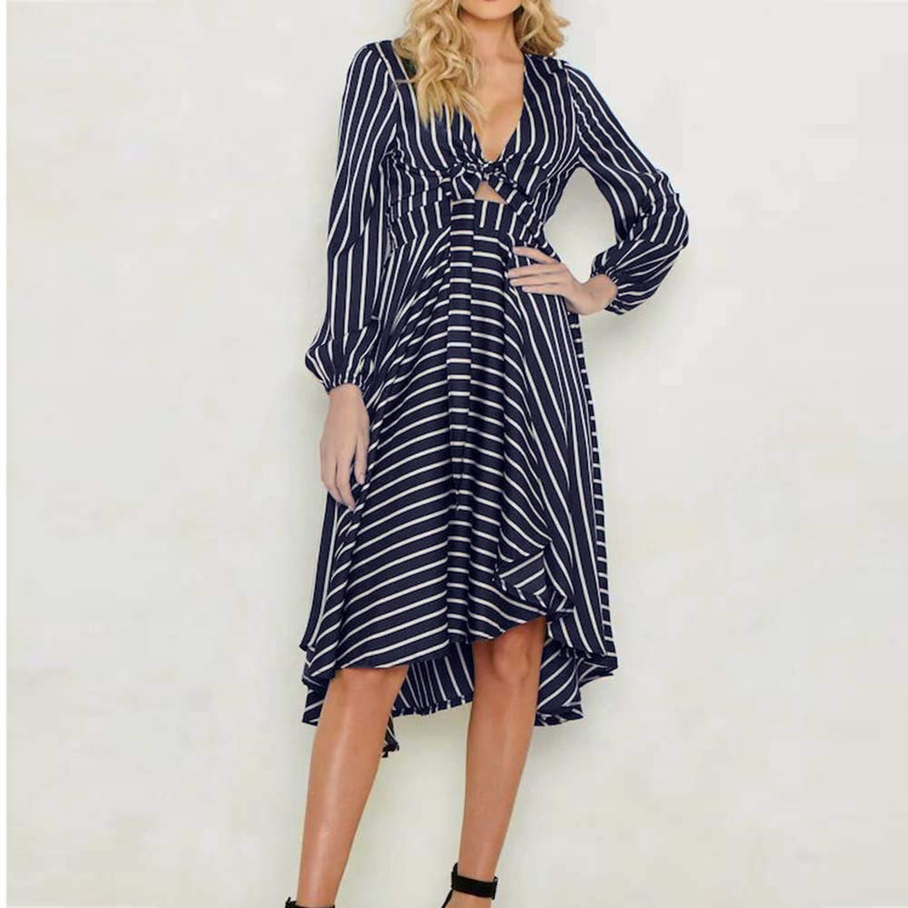 Amazon.com: TOPUNDER Stripe Casual Patchwork Print V-Neck Long Sleeve Dress for Women: Clothing