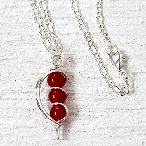 (Handmade Red Jade Bead Necklace - 18