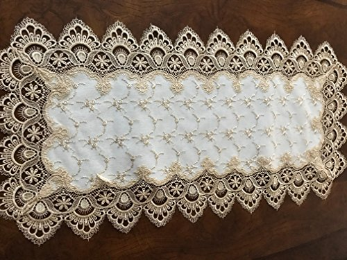 A & MT Beautiful Venice Lace Embroidered Linen Table Runner:16