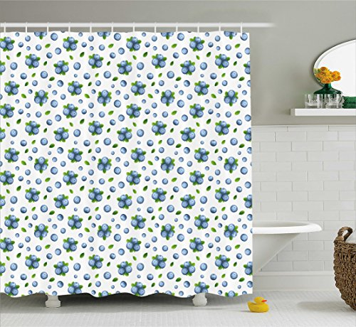 Blueberry Curtain - Ambesonne Fruit Shower Curtain, Fresh Blueberries Ripe Juicy Fruits Summer Organics Food Painting Art Style, Cloth Fabric Bathroom Decor Set with Hooks, 70 Inches, Blue Green White