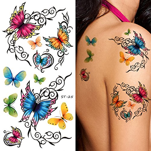 Supperb Temporary Tattoos - Elegant, Colorful Butterflies Tattoo (Set of 2) ()